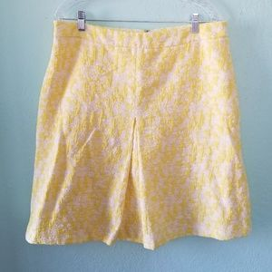 Vince Camuto yellow/white inverted pleated skirt